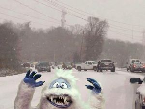 snow  monster in traffic